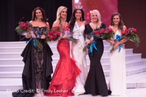 From left to right: 2nd - Madison Monson, 1st - Jesse Craig, Miss Utah - JessiKate Riley, 3rd - Alexa Knutzen, 4th - Whitney Gillman (Photo by Emily Lesher)